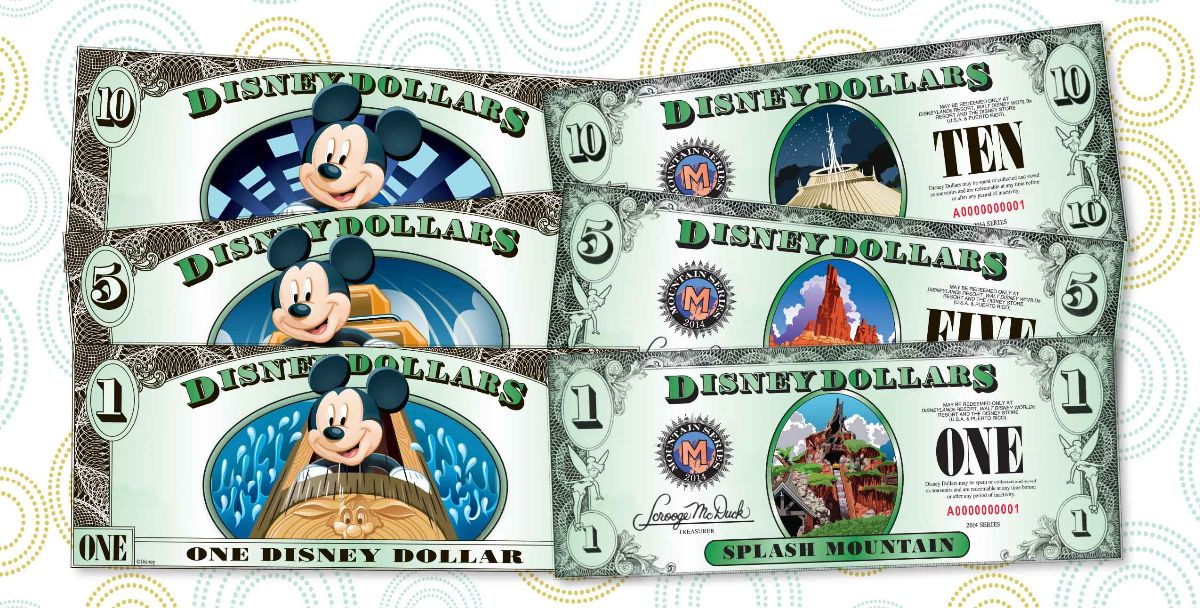 "New Disney Dollars have been released just in time for holiday stocking stuffing. A new ""Disney mountains"" series of Disney Dollars is now available with three new designs featuring Splash Mountain, Big Thunder Mountain Railroad and Space Mountain on the $1, $5 and $10 bills, respectively. A limited supply will be sold at select locations throughout Walt Disney World and Disneyland Resorts, including all Guest Relations locations, Walt Disney World Resort and Disneyland Resort hotels and the World of Disney store at Downtown Disney in both California and Florida. Walt Disney World Resort is located in Lake Buena Vista, Fla., and Disneyland Resort is located in Anaheim, Calif. (Disney)"